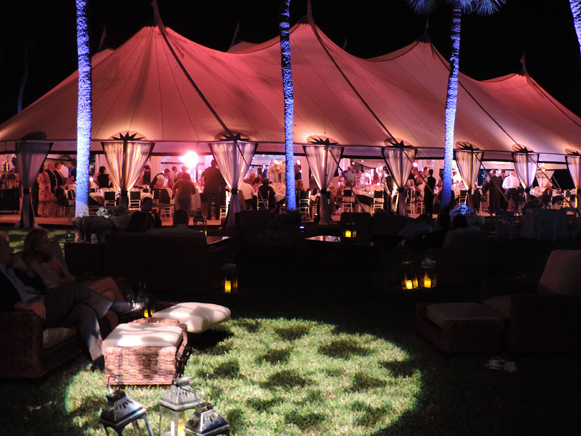 Party tent at night for event at White Hall in Palm Beach, Florida